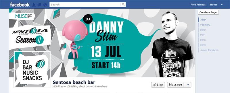 Facebook корица и снимка за гостуването на диджей дани слим в Sentosa Beach Bar, едно особено приятно дневно парти от диджей дани за всички клиенти и плажуващи на къмпинг Градина