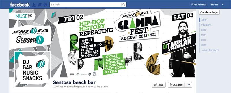 Facebook корица и профилна снимка за събитието на сезона на Българското черноморие Градина Фест. Съвместен проект между Sentosa Beach Bar и бар Кашмир Бургас. На събитието се събраха част от най-големите имена в българската хип хоп музика и забавляваха цяла вечер стотиците меломани събрани на плажа на къмпинг Градина в райския залив между Созопол и Черноморец.