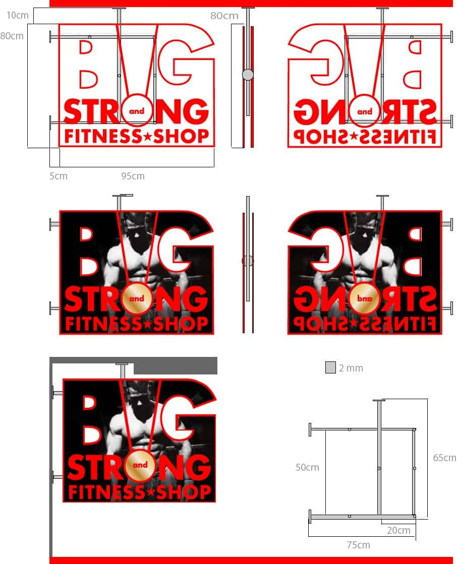 BIG and Strong fitness shop Burgas размери и визуализация на табела