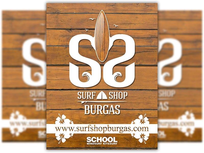 """Финална версия на лого дизайна на Surf Shop Burgas. Логото вече краси както фирменият магазин така и автомобилите и бусовете на магазина. Запазеният знак на сърф магазин Бургас е изграден от двата еса на името на сърф магазина """"Surf Shop Burgas"""" дървен сърф, малко чайки, част от сърф дъска, както и профил на сърф дъска. Идеята на цялостната визия изобразява хавайска маска."""