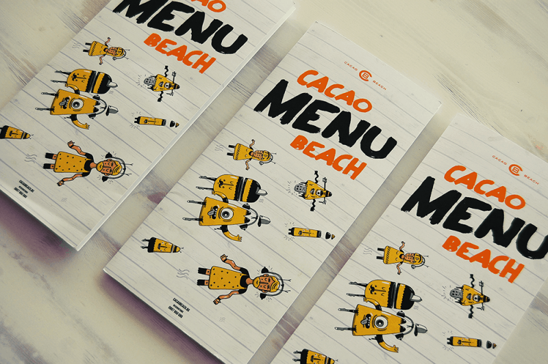 Cacao beach menu design and ideas muse creativity print