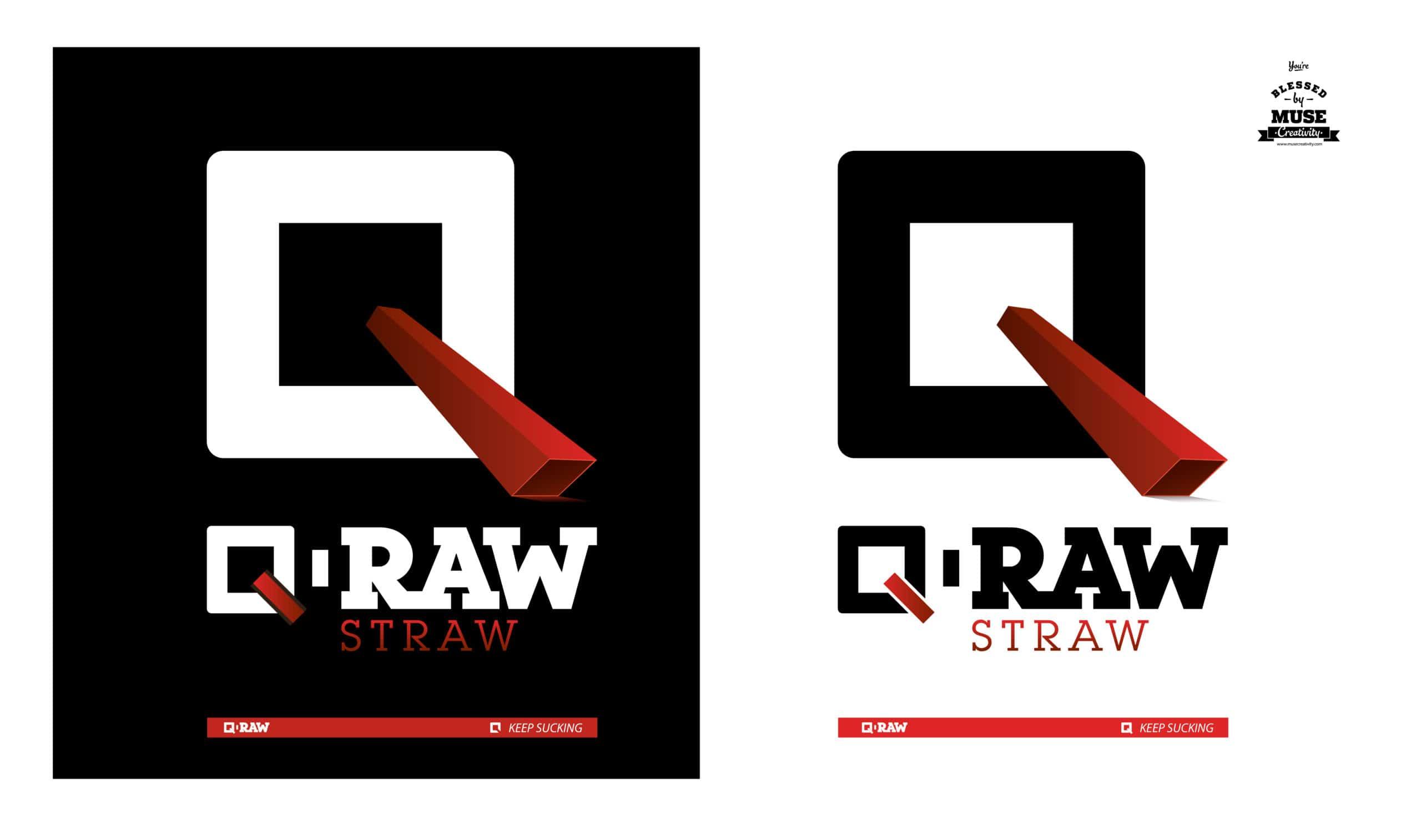 Корпоративна бранд дизайн идентичност на бранд за сламки Q-RAW лого дизайн от Muse Creativity
